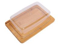 Масленка/Сырница 19,5*13*5см, бамбук, пластик BRAVO