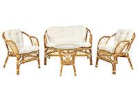 "Комплект ""NEW BOGOTA ECO SKIN "" ( диван + 2 кресла + стол со стеклом ) /с подушками/ ротанг"